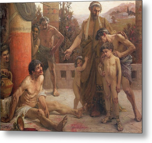 A Spartan Points Out A Drunken Slave To His Sons Metal Print