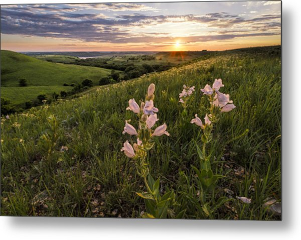A Spring Sunset In The Flint Hills Metal Print