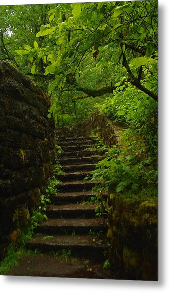 A Stairway To The Green Metal Print