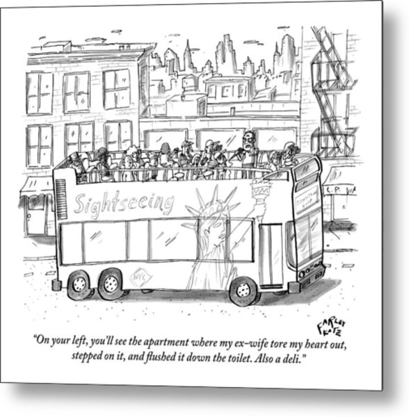 A Standing Tour Guide Speaks A Few Tourists Metal Print