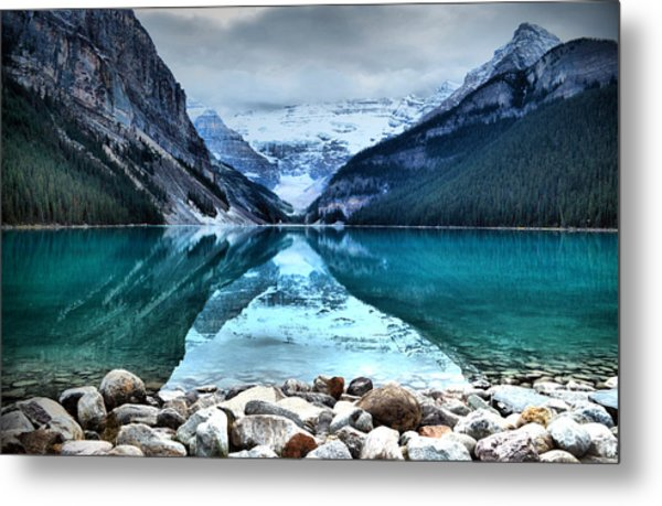 A Still Day At Lake Louise Metal Print