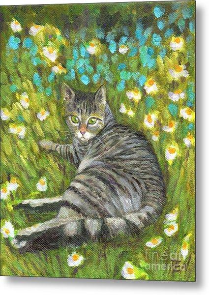 A Striped Cat On Floral Carpet Metal Print