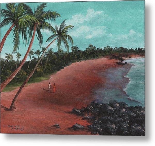 A Stroll On A Tropical Beach Metal Print