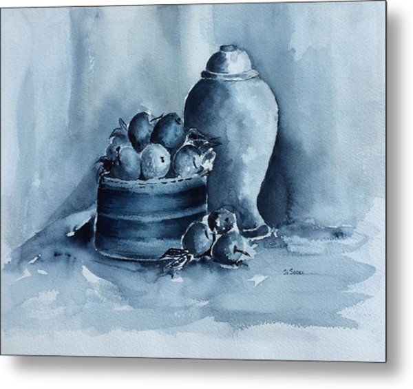 A Study In Blue Metal Print by Stephanie Sodel
