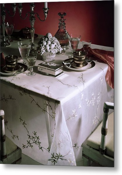 A Table Set With Delicate Tableware Metal Print