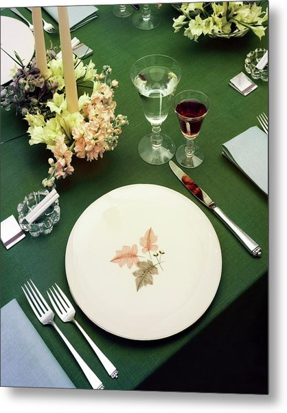 A Table Setting On A Green Tablecloth Metal Print