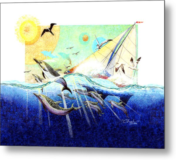 A Tern With The Dolphins Metal Print