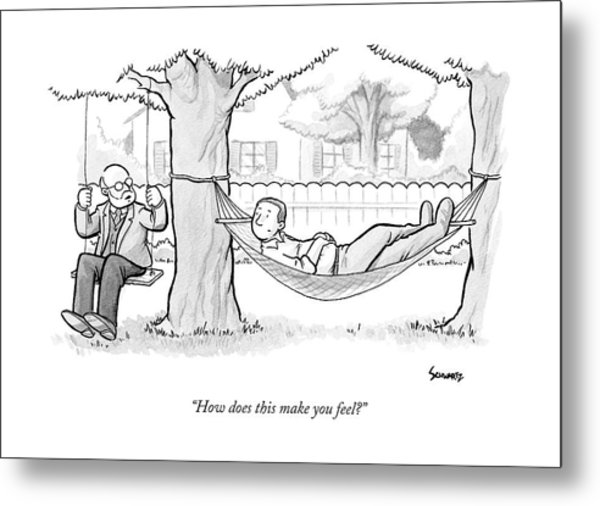 A Therapist Sits On A Swing Behind And Addresses Metal Print