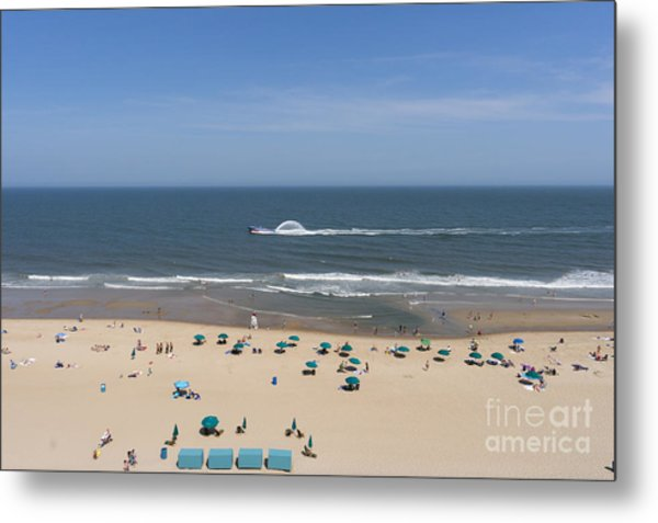 A Touring Speedboat Passes By Shore In Ocean City Maryland Metal Print