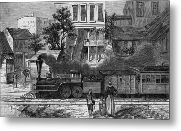 A Train Of The Camden & Amboy Metal Print by Mary Evans Picture Library