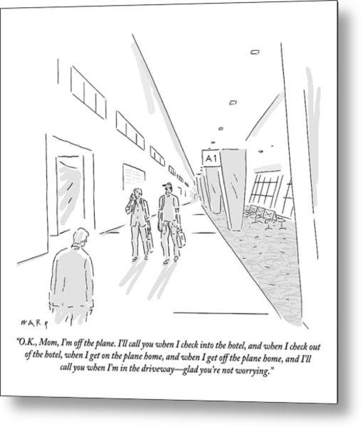 A Traveler Walking Through The Airport Speaks Metal Print by Kim Warp