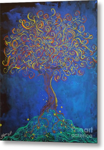 A Tree Of Orbs Glows Metal Print