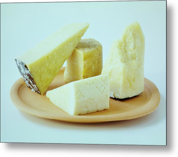 A Variety Of Cheese On A Plate Metal Print