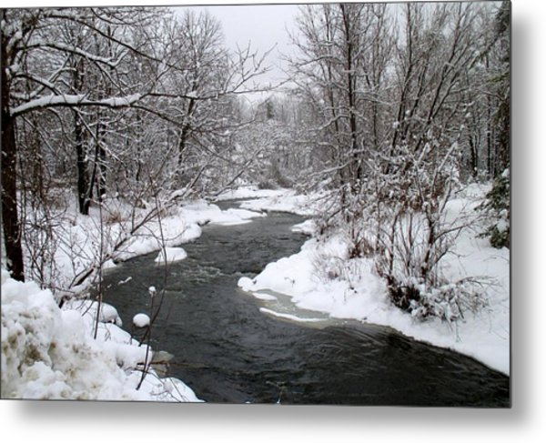 A Vermont Stream In Winter Metal Print