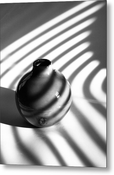 A Vessel...black And White Metal Print by Tom Druin