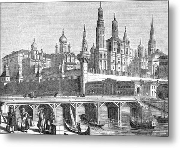 A View Of The Kremlin From The River Metal Print by Mary Evans Picture Library