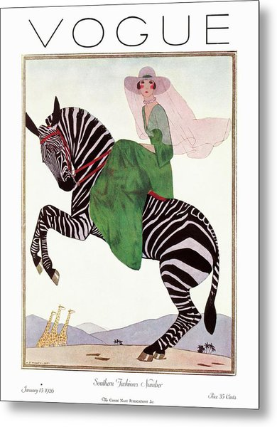 A Vintage Vogue Magazine Cover Of A Woman Metal Print by Andre E.  Marty