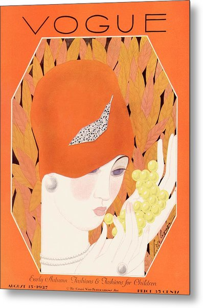 A Vintage Vogue Magazine Cover Of A Woman Eating Metal Print