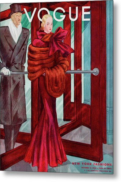 A Vogue Cover Of A Couple In A Revolving Door Metal Print