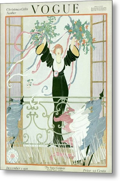 A Vogue Cover Of A Woman Above A Parade Metal Print
