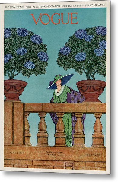 A Vogue Cover Of A Woman At A Balustrade Metal Print by Wilson Karcher