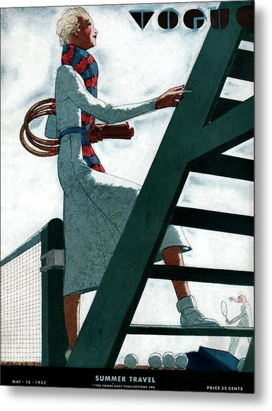 A Vogue Cover Of A Woman At A Tennis Court Metal Print