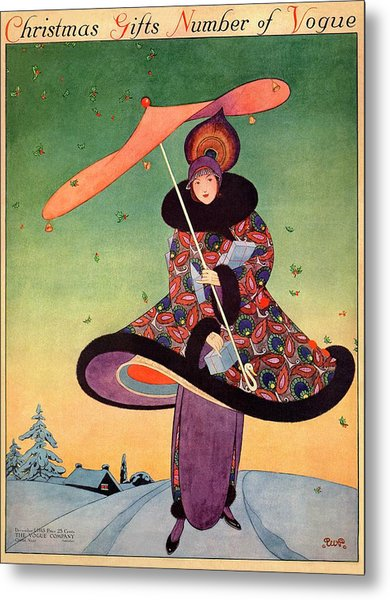 A Vogue Cover Of A Woman Holding An Umbrella Metal Print by George Wolfe Plank