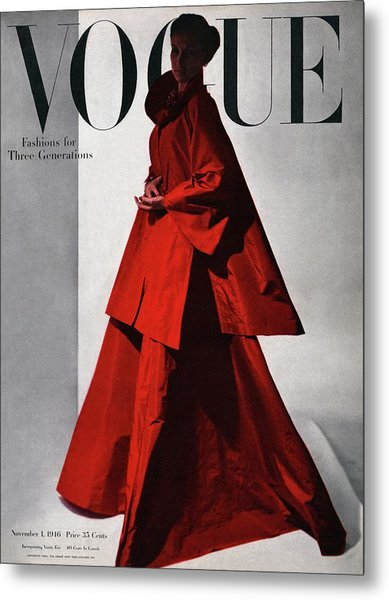 A Vogue Cover Of A Woman Wearing A Red Metal Print by Horst P. Horst