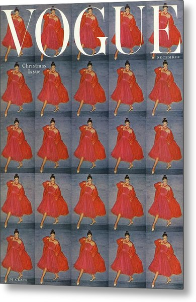 A Vogue Cover Of A Woman Wearing Red Metal Print