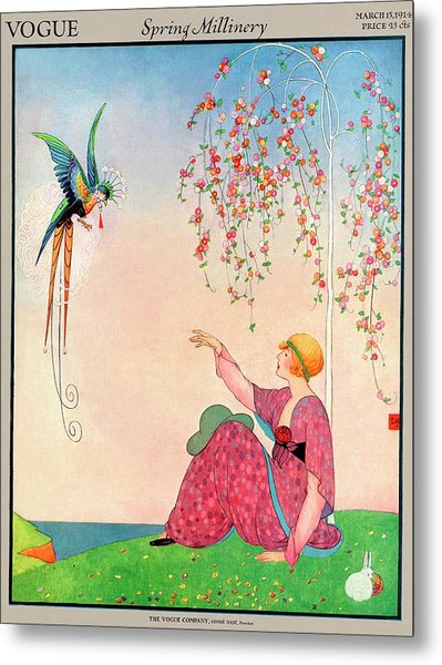 A Vogue Cover Of A Woman With A Bird Metal Print