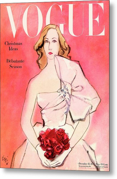A Vogue Cover Of A Woman With Roses Metal Print