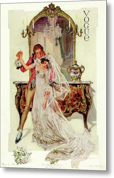 A Vogue Cover Of An 18th Century Bridal Couple Metal Print