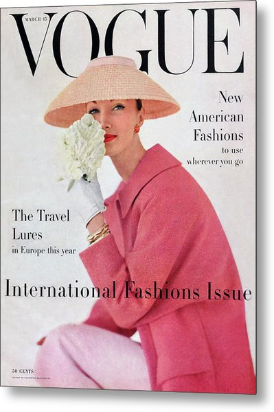 A Vogue Cover Of Evelyn Tripp Wearing Pink Metal Print