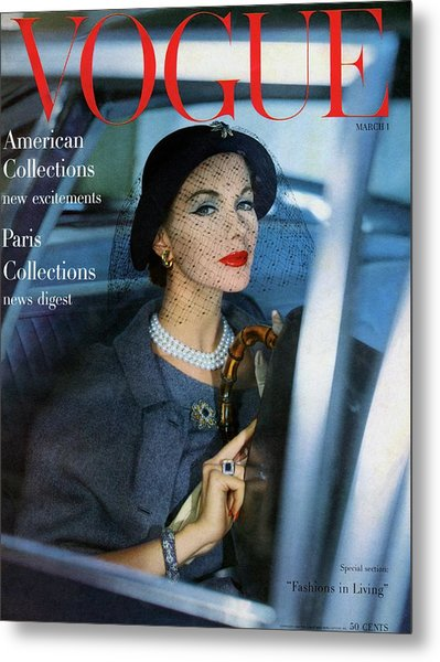 A Vogue Cover Of Joan Friedman In A Car Metal Print