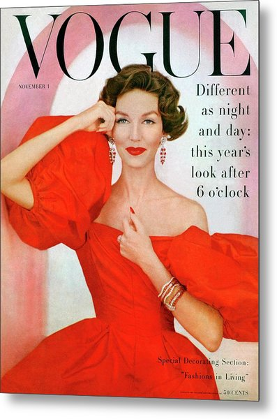 A Vogue Cover Of Joanna Mccormick Wearing Metal Print by Richard Rutledge
