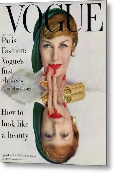 A Vogue Cover Of Mary Jane Russell Metal Print by John Rawlings