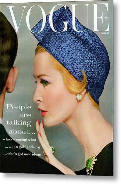 A Vogue Cover Of Sarah Thom Wearing A Blue Hat Metal Print by Richard Rutledge