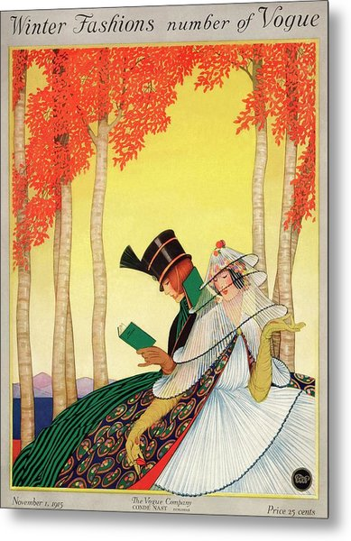 A Vogue Cover Of Women Sitting In A Forest Metal Print