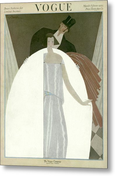 A Vogue Magazine Cover Of A Wealthy Man And Woman Metal Print