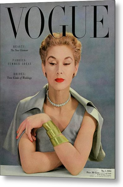 A Vogue Magazine Cover Of Lisa Fonssagrives Metal Print