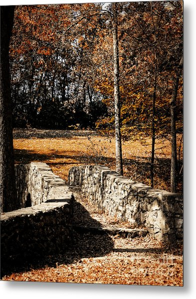 A Walk Along The Old Stone Path Metal Print