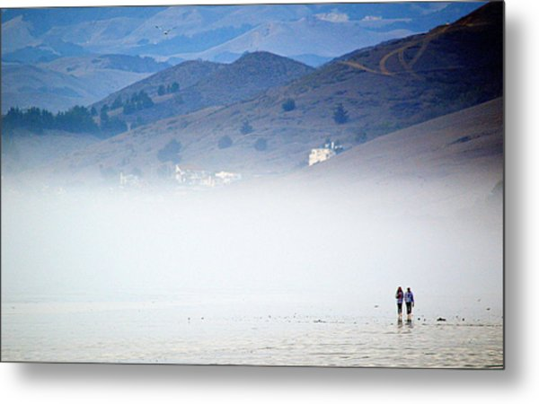 A Walk In The Evening Fog Metal Print
