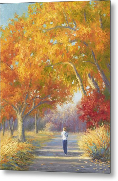 A Walk In The Fall Metal Print
