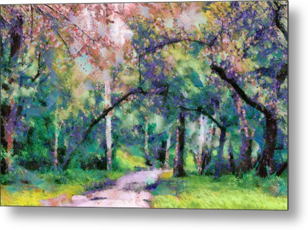 Metal Print featuring the mixed media A Walk Inside The Rainbow Forest by Priya Ghose