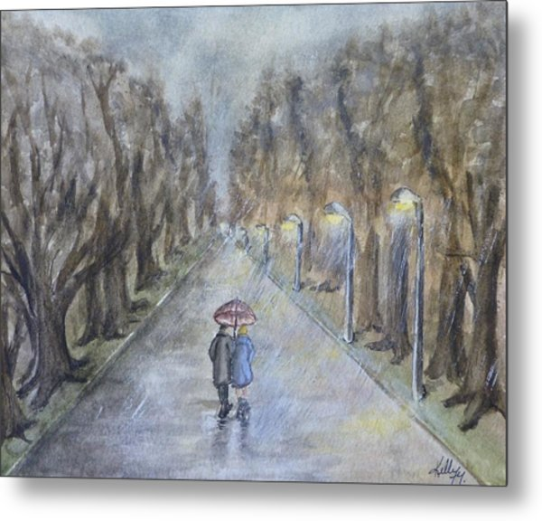 A Wet Evening Stroll Metal Print