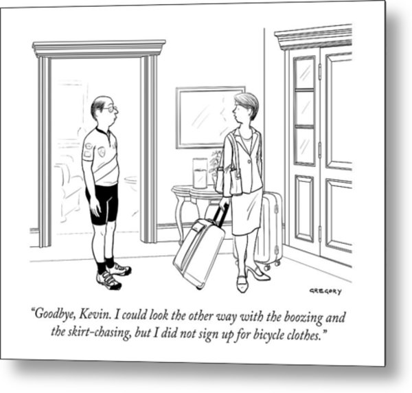 A Wife With Luggage Leaves Her Husband Metal Print