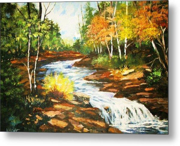 A Winding Creek In Autumn Metal Print