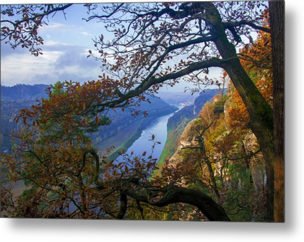 A Window To The Elbe In The Saxon Switzerland Metal Print