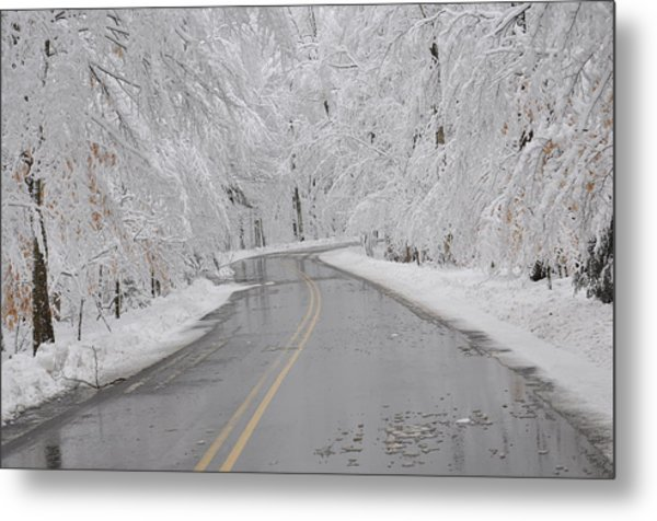 A Winter Drive In Door County. Metal Print