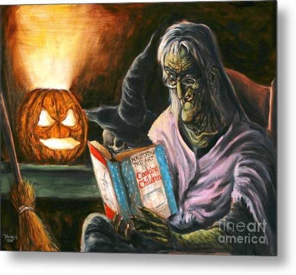 A Witch Reading Metal Print by Mark Tavares